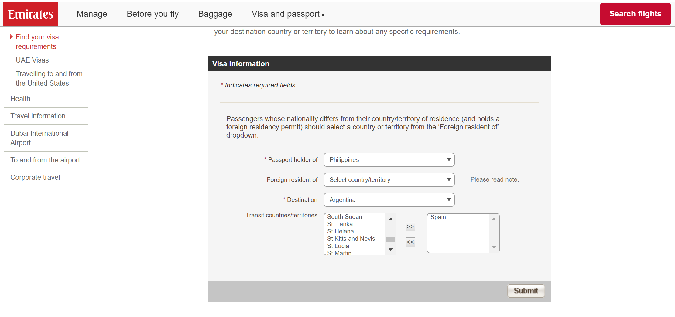 Tourist visa information on Emirates airlines