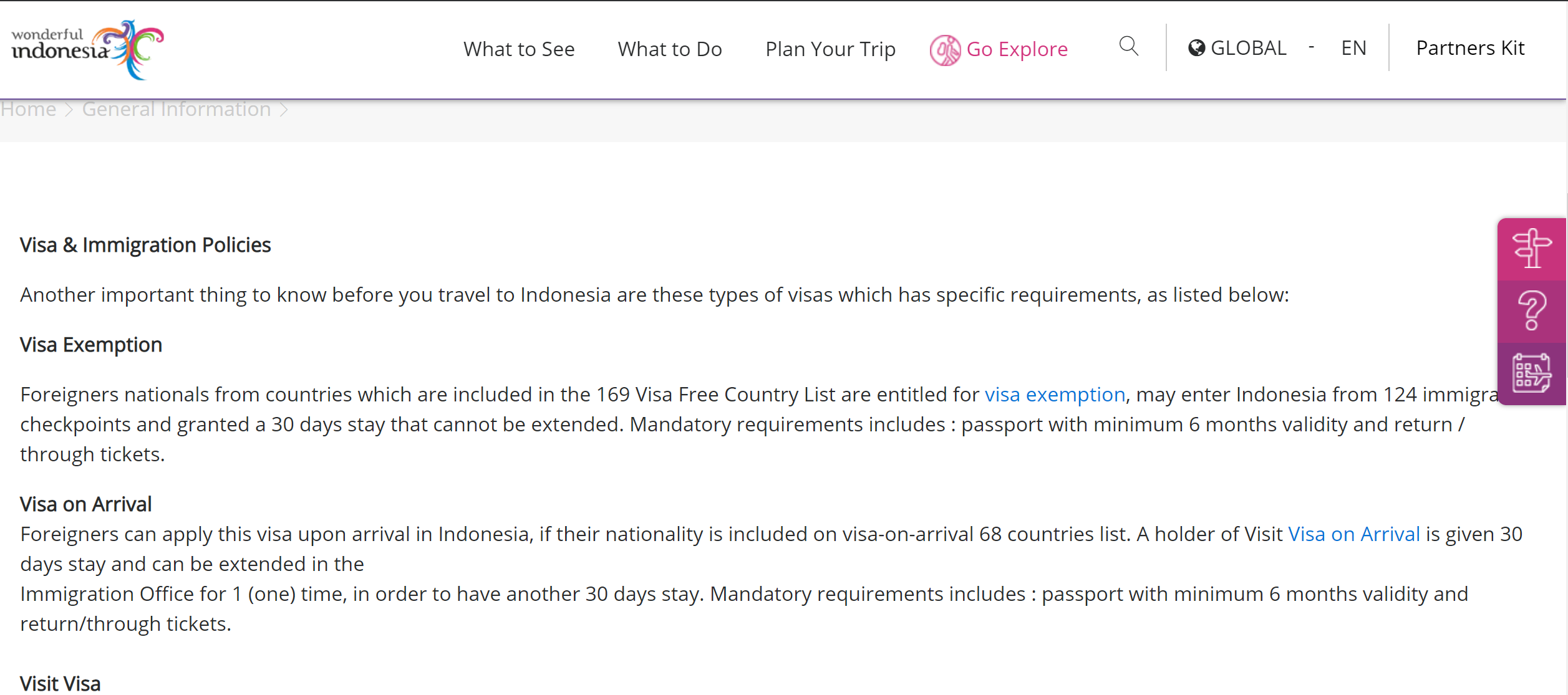Tourist visa information for Indonesia on Indonesia tourism website
