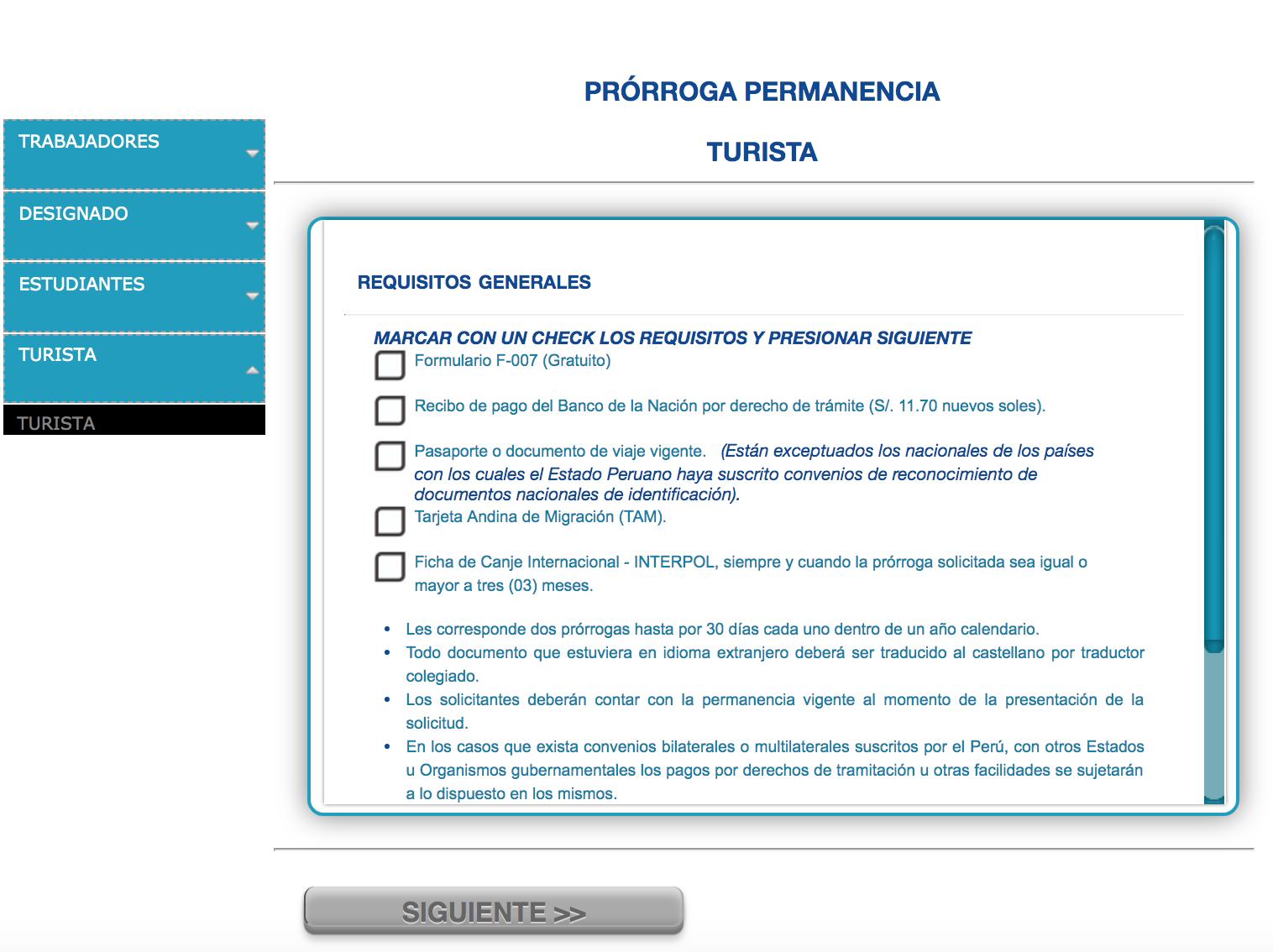 Peru visa extension PRORROGA PERMANENCIA