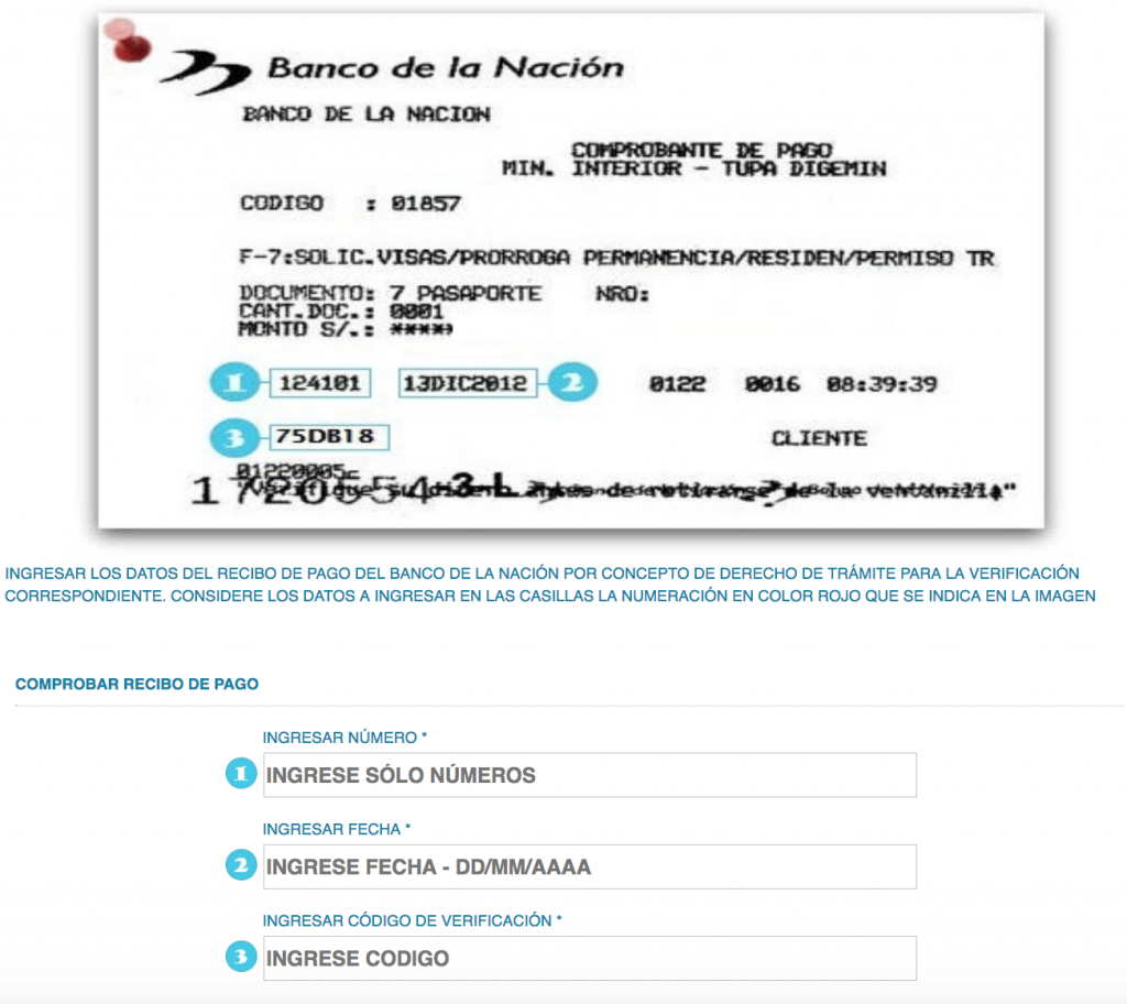 Peru visa extension payment receipt
