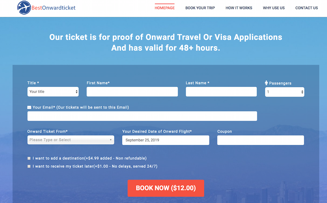 Proof of onward travel on Bestonwardticket