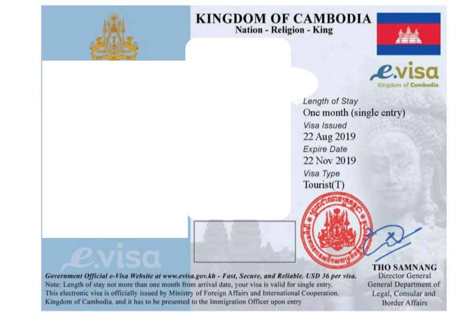 Cambodia online visa sticker or evisa