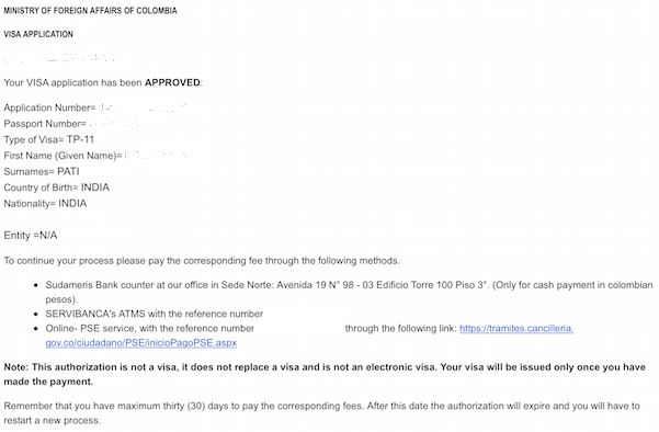 Colombia Tourist Visa approval email