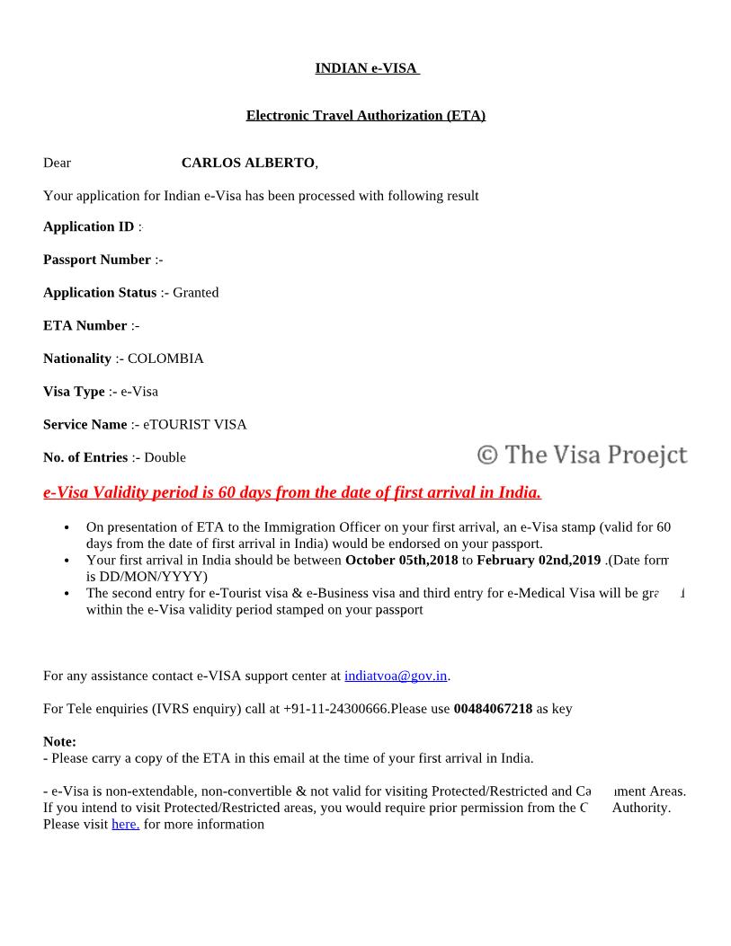 Indian Online Visa Sample
