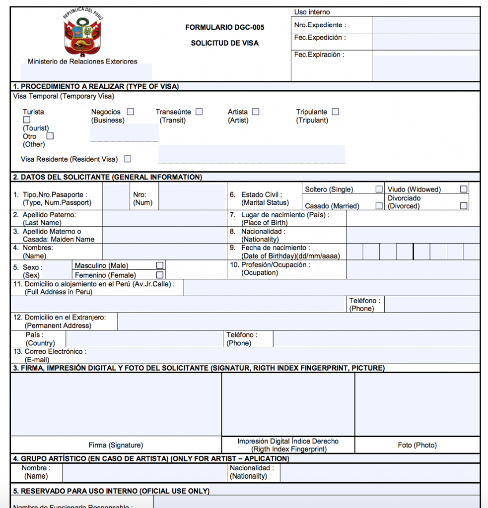 Peru visa for Indians: Tourist visa application form