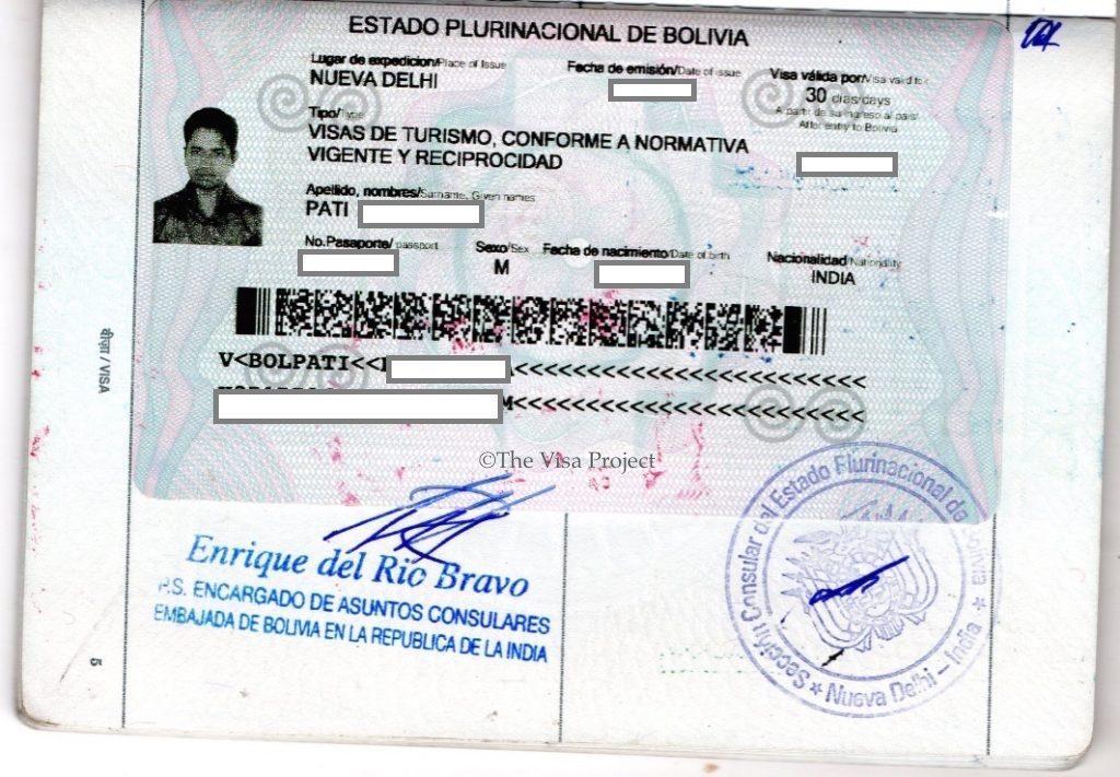 Tourist visa sticker for Bolivia
