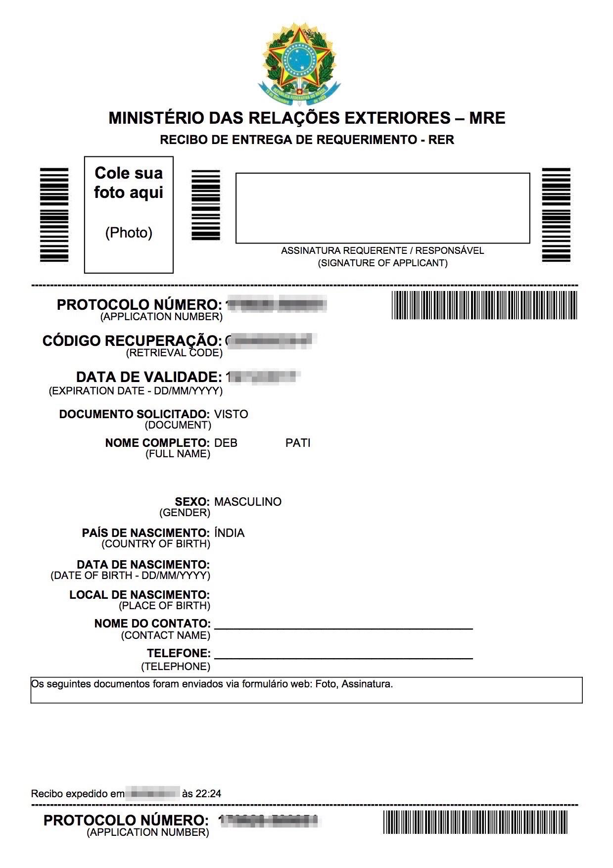 Brazil Visa application receipt