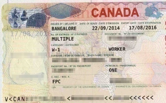 A Canada visa for Indian citizen from Canadian consulate in Bangalore.