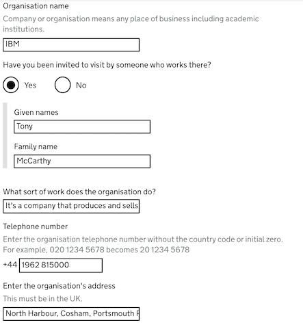 Invitation details for UK business visitor visa
