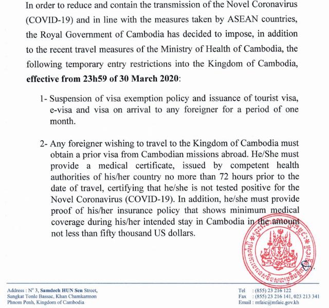 Cambodia e-visa is suspended for covid-19