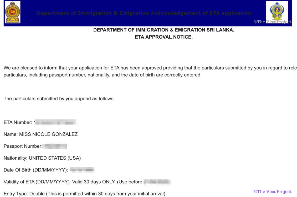 Sri Lanka Online Visa ETA approval email