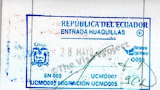 Ecuador Visa Entry Stamp