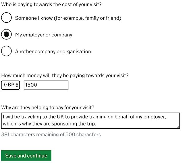 UK business visitor visa through employer