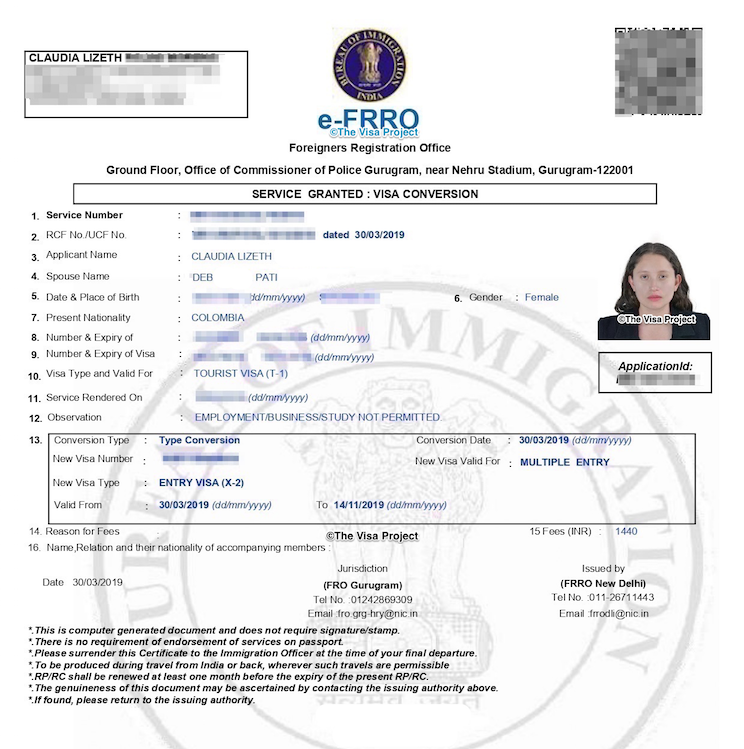 India X Visa How To Convert Your Tourist Visa To Spouse Visa In Frro India The Visa Project