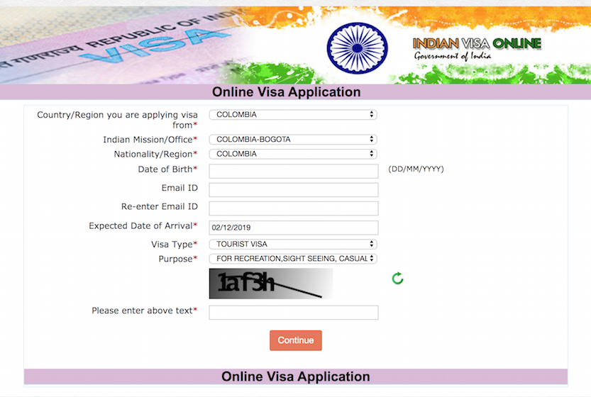 India tourist visa form