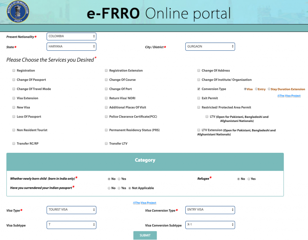 e-FRRO portal for spouse visa conversion