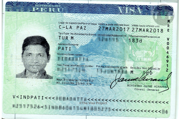 Peru visitor visa sample