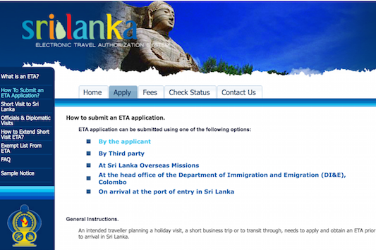 Sri Lanka evisa website