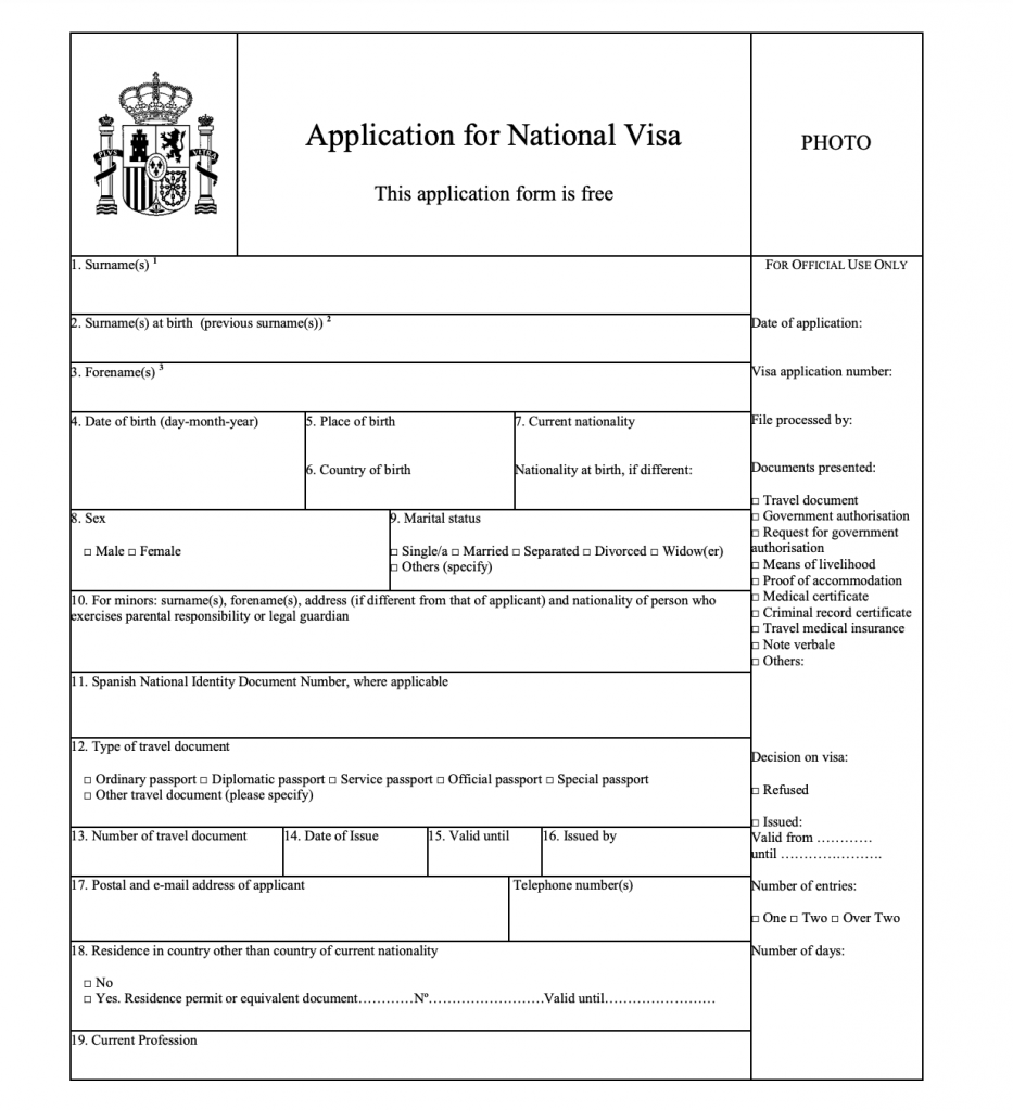 Student visa for Spain application form