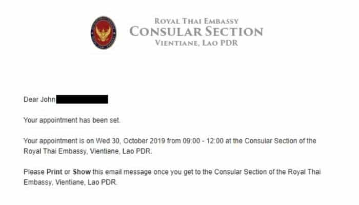 60 day Thailand tourist visa appointment in Thai royal embassy Laos