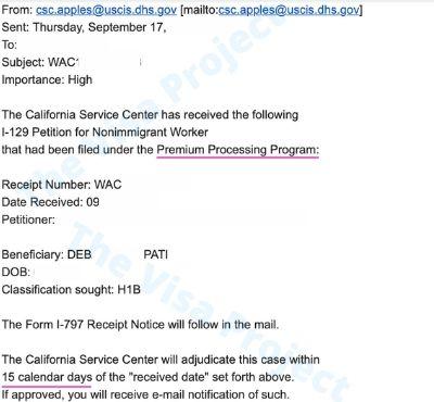 H1B Transfer Premium Processing in the United States