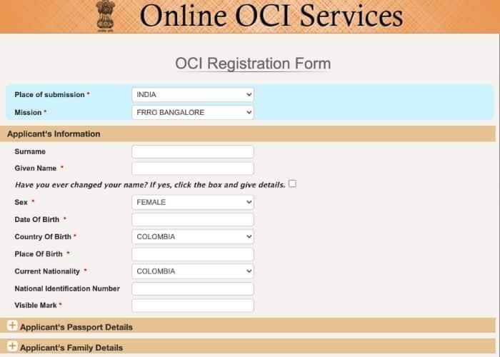 OCI Card Application Online