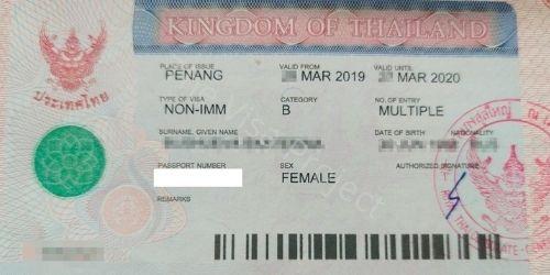 Non-immigrant visa for Thailand sample