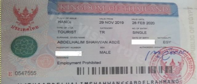 Tourist Visa to Thailand in Thai embassy Vietnam
