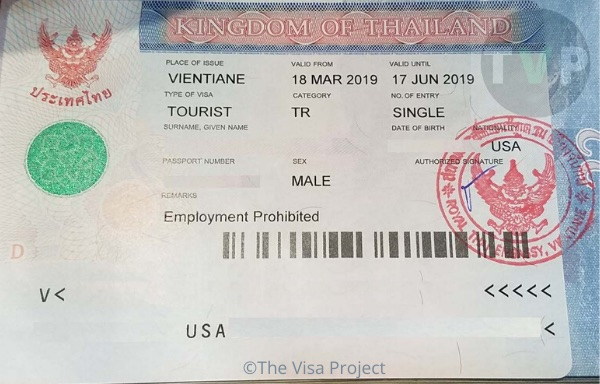 A Thai visa application for Thai SETV