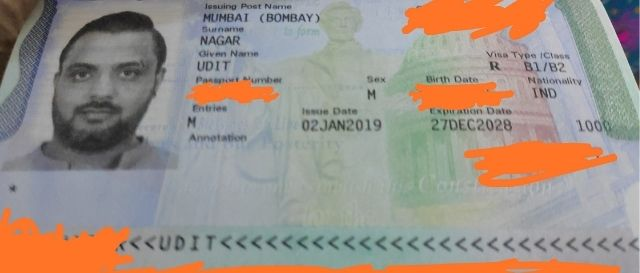B1B2 US Visitor visa sample