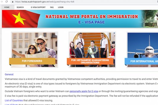 Official website for Vietnam e-Visa